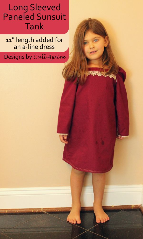 An a-line dress made with the Paneled Sunsuit pattern.
