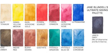 Daniel smith put together a palette by Jane Blundell: Ultimate Watercolor Mixing Selection--nice!