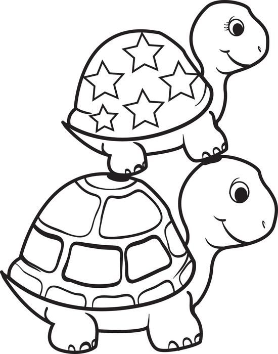 free printable turtle on top of a turtle coloring page for kids - Coloring Pages