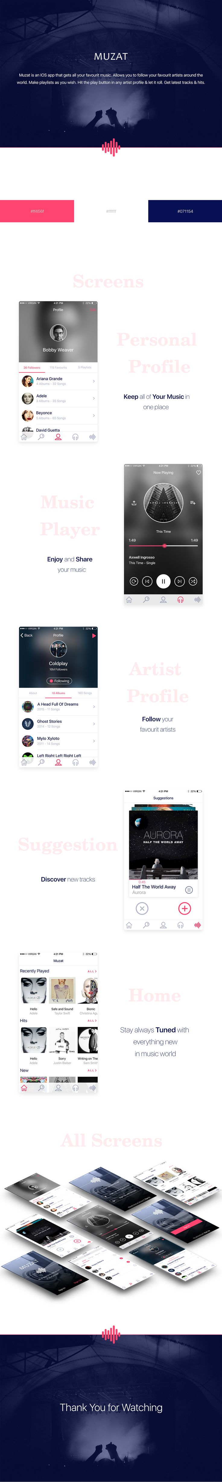 Muzat is an IOS music streaming app with large database of artists all over the world.