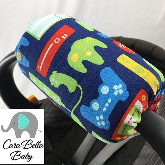Car Seat Arm Cushion Gamer Video Game Neutral Blue Car Seat Pad.  Girl or Boy.   Great baby Shower Gift.  Matching car seat accessories!