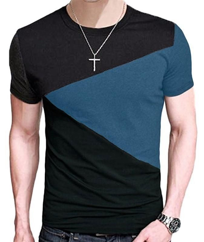 Mens Polo Shirts Slim Fit Short Sleeve Personality Patchwork Sports T-Shirts Tops