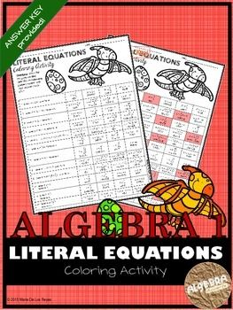 Writing Literal Equations Coloring Activity Middle School Math