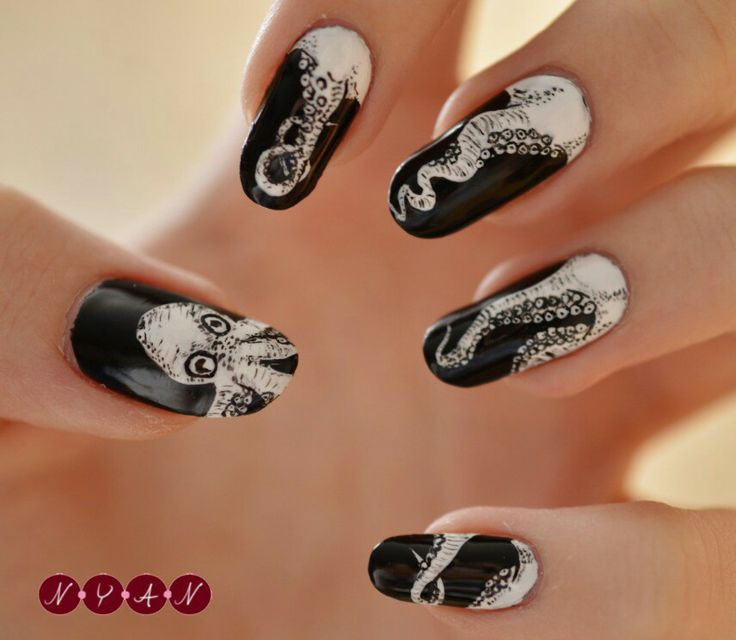 The 25 best octopus nails ideas on pinterest nautical nails black and white octopus nail art prinsesfo Image collections