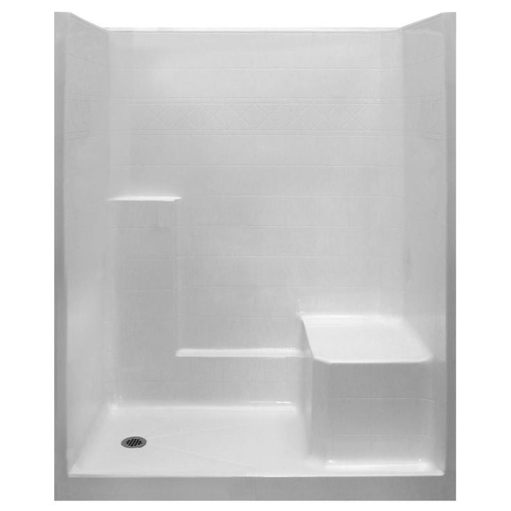 Ella Standard 33 in. x 60 in. x 77 in. 1-Piece Low Threshold Shower Stall in White with RHS Molded Seat and Left Drain
