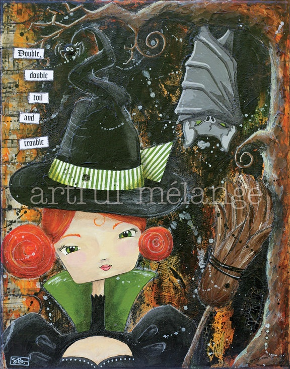 Hildegarde... Mixed Media Fine Art Print - Halloween