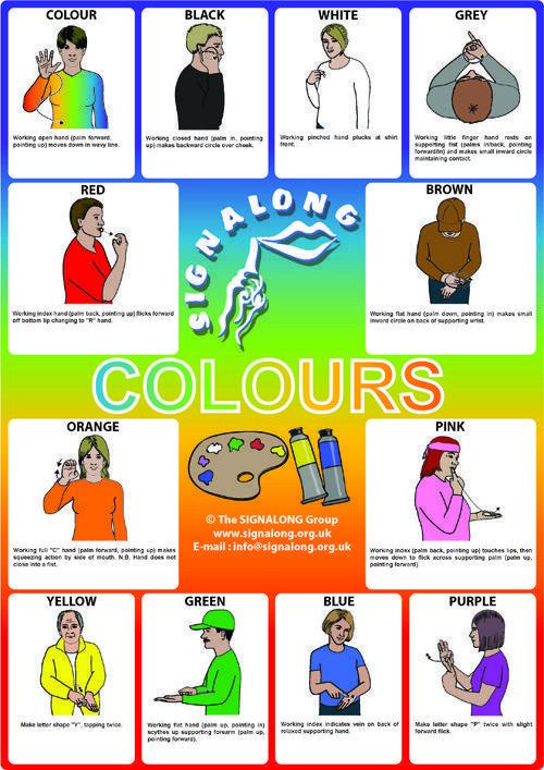 Colours  - BSL (British Sign Language) #funnyspanishlessons #signlanguageposter