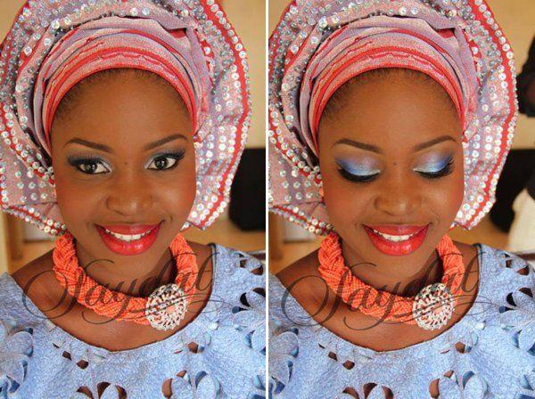 Traditional Bride Makeover : Another unique blue and red Yoruba yoruba attire. Look at ...