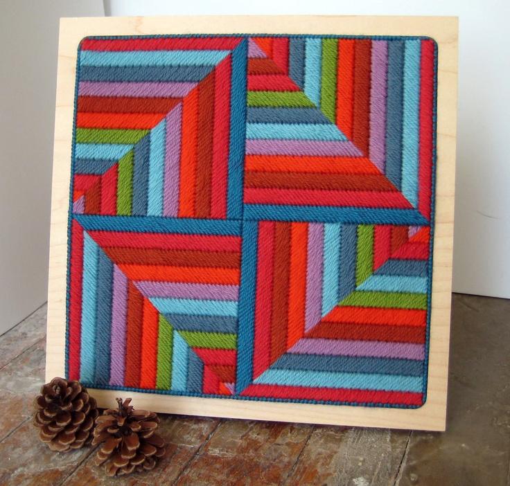 geometric pattern needlepoint art in frame