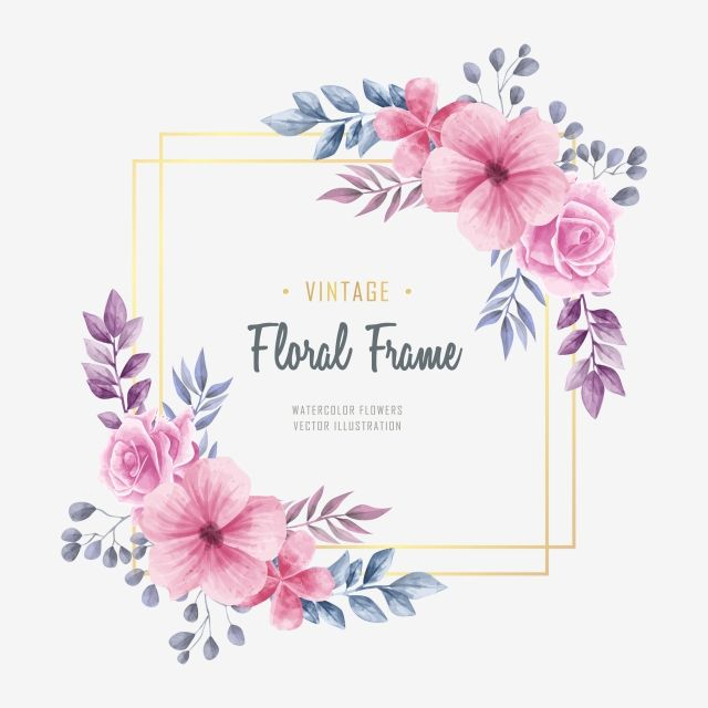 Vintage Watercolor Floral Frame Background Background Pattern