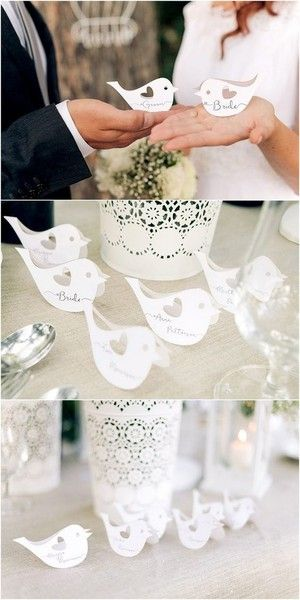 Laser Cut Lovebirds - Beautiful and Creative Wedding Place Card Ideas - Photos