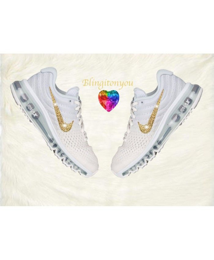 detailed look 18a36 7886a Nike Air Max 2017 Women s Running White with Gold Swarovski Crystals Brand  Sneakers Cheap Sale