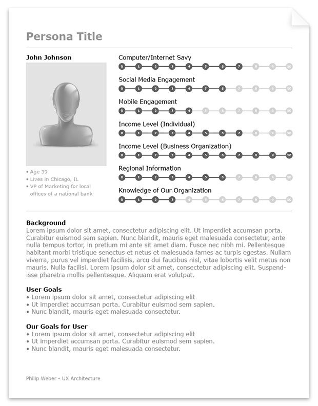 ux persona template - succinct with a nicely lay out for showing key metrics