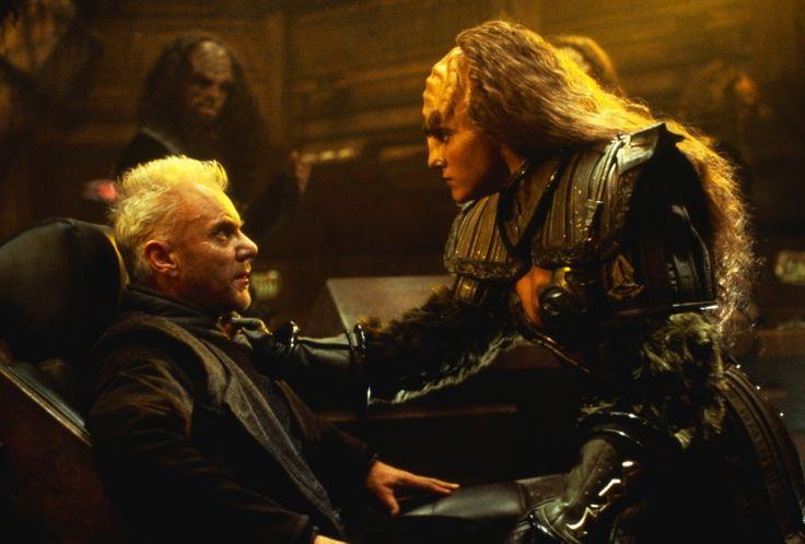 Malcolm McDowell and Gwynyth Walsh in Star Trek: Generations (1994)
