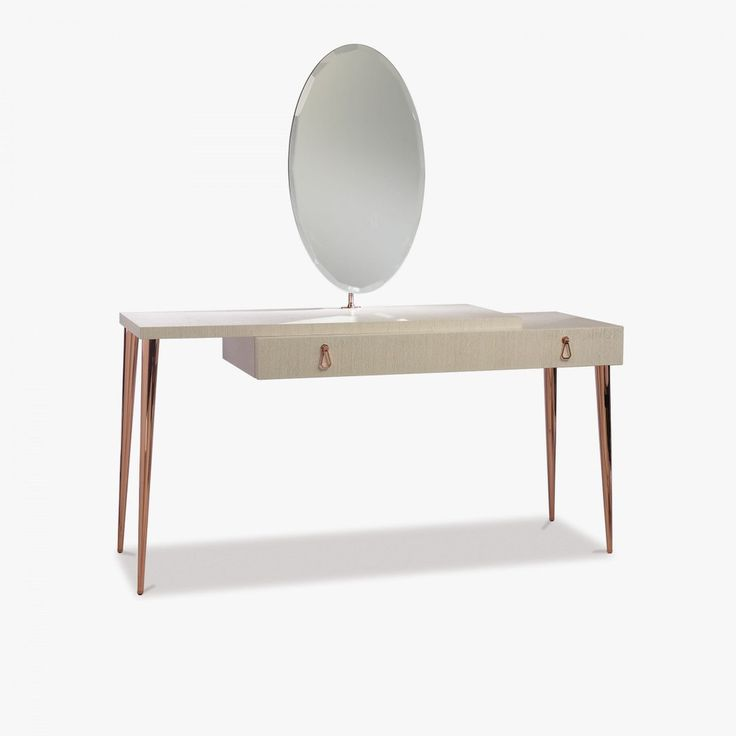 Dressing Table, Modern Vanity With Copper Finish