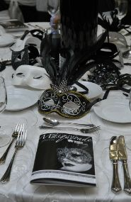 Black & White Masquerade Table Decorations. Events By Vento Designs. We Go Beyond Fundraising & Corporate Events...Complete & Month-Of Wedding Services! Visit Us: www.eventsbyventodesigns.com