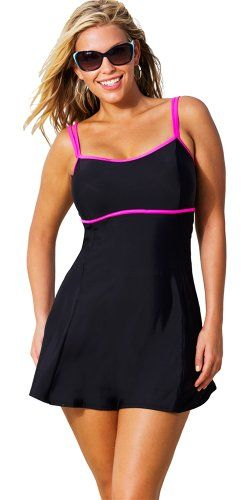 Beach Belle Cerise Plus Size Lingerie Swimdress Women's Swimsuit - Black - Size:10 Beach Belle http://www.planetgoldilocks.com/plussizeswimwear_planet.htm