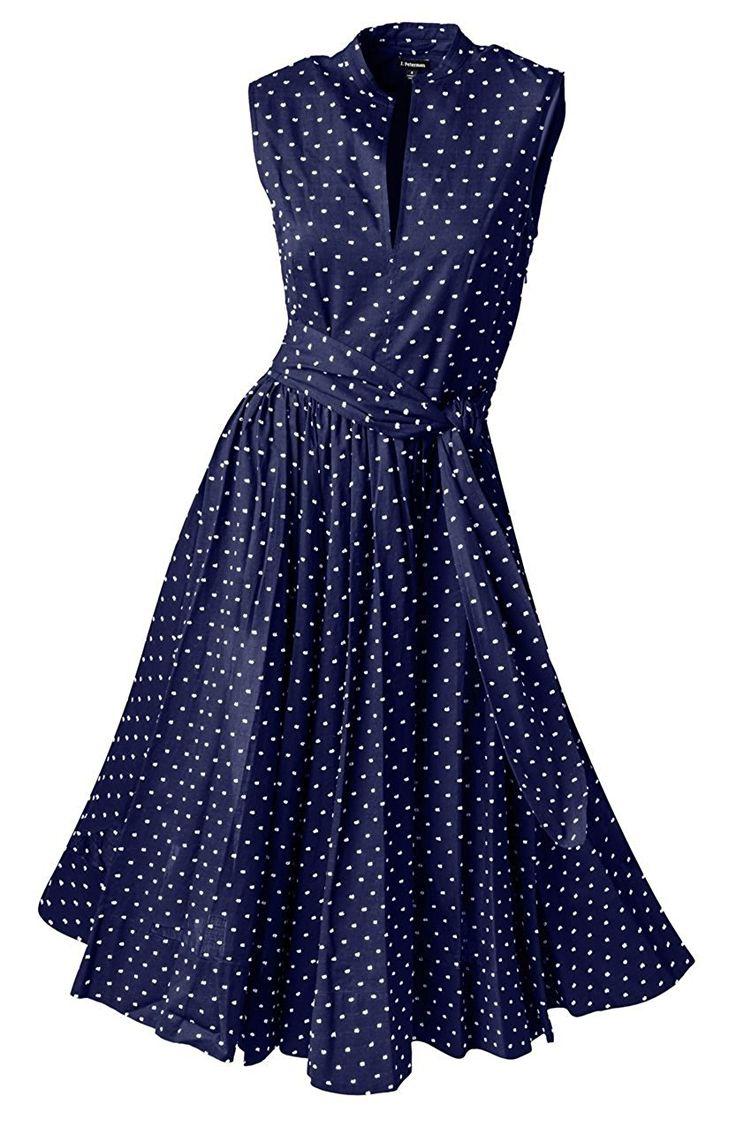 1950s sleeveless blue polka dot summer dress