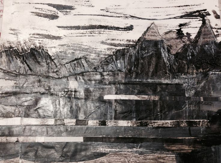 Margaret Hage Tonal collage drawing journal trials