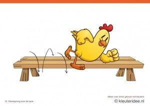 Bewegingskaarten kip voor kleuters 10, Wendsprong over de bank , kleuteridee.nl , thema Lente, Movementcards for preschool,  free printable....