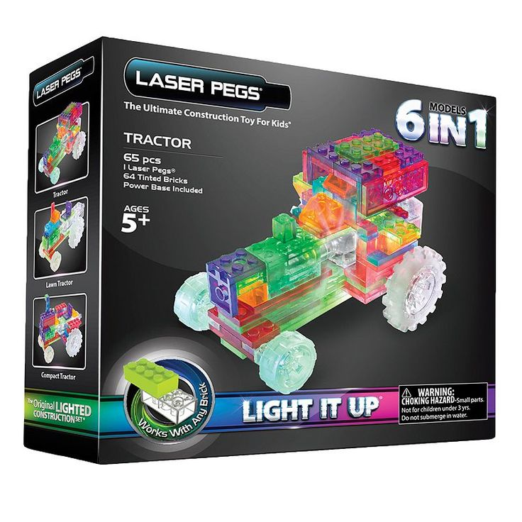 Laser Pegs 6-in-1 Tractor Light-Up Construction Set, Multicolor