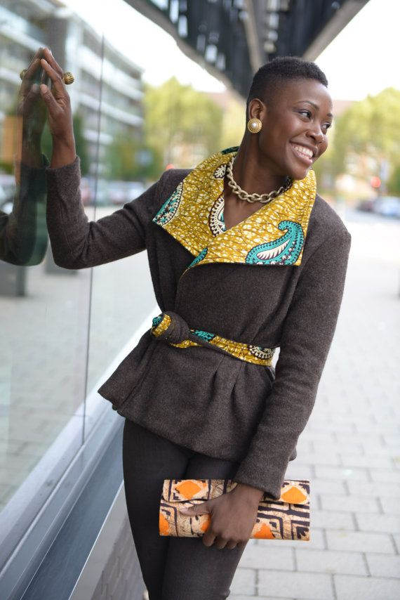 African street style jacket. Fully lined with African print.  Limited Edition. Beautiful brown wool mixed with fawn, yellow and turquoise African
