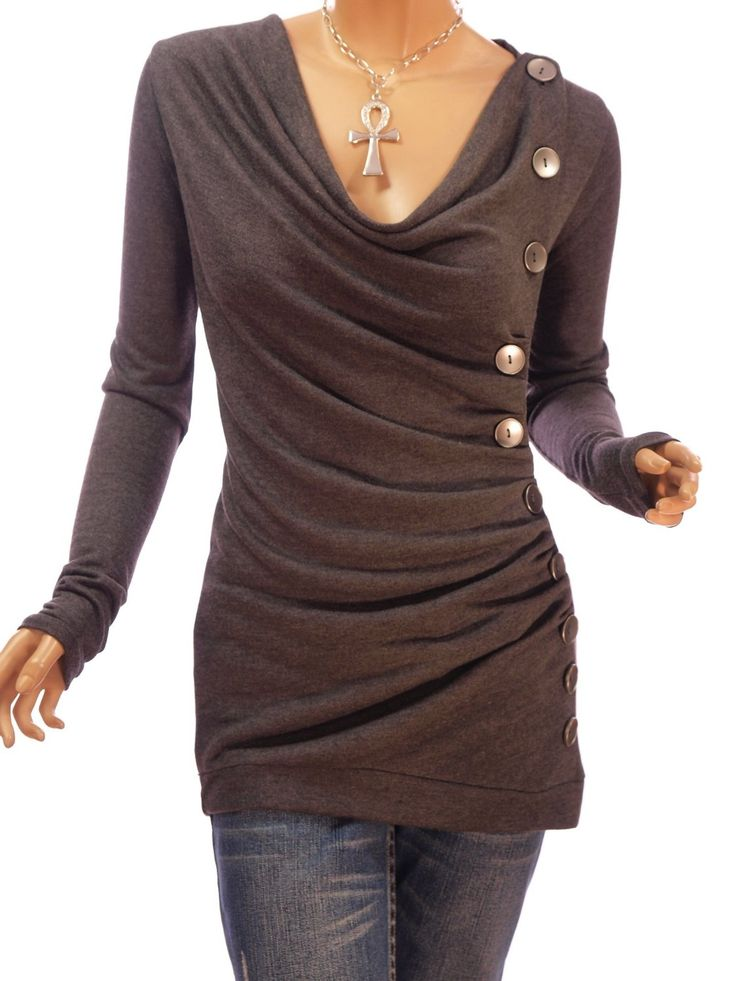 Cowl Neck Button Embellished Ruched Blouse