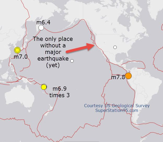 "MissingQuakeW-Coast The same tectonic plate which caused the tremendous earthquakes in Japan and later, in Ecuador last week, is now pushing against the west coast of the US.  It is crushing-into the ground in California.  As this movement continues, something, somewhere, has to ""give.""  That generally means an earthquake. April 21 2016"