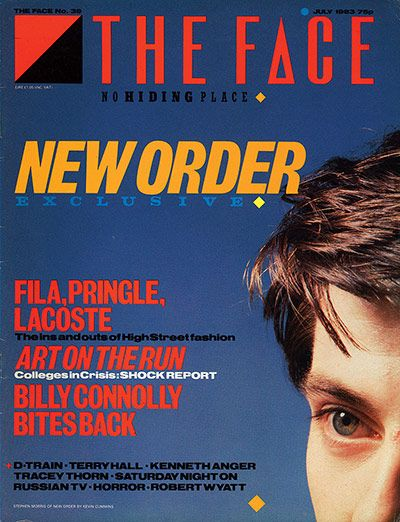 The Face    Neville Brody    Styled by British graphic designer Neville Brody, the Face was launched in May 1980 and immediately set the tone for what became known as the style decade. Brody's groundbreaking art direction merged dynamic typography with stylish and dramatically cropped photography, as on this July 1983 cover, creating a new visual language for magazines