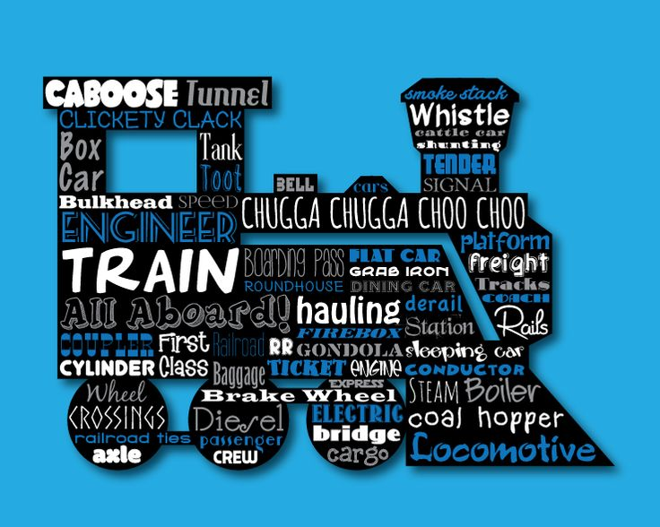 Train Engine Word Art Typography Wall Home Decor Unique Gift Boys Room Kids Conductor Railroad Caboose Choo