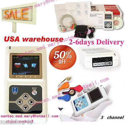 USA Stock,24 hours 3 Channel ECG ECG/EKG Holter Monitor System CONTEC TLC9803,