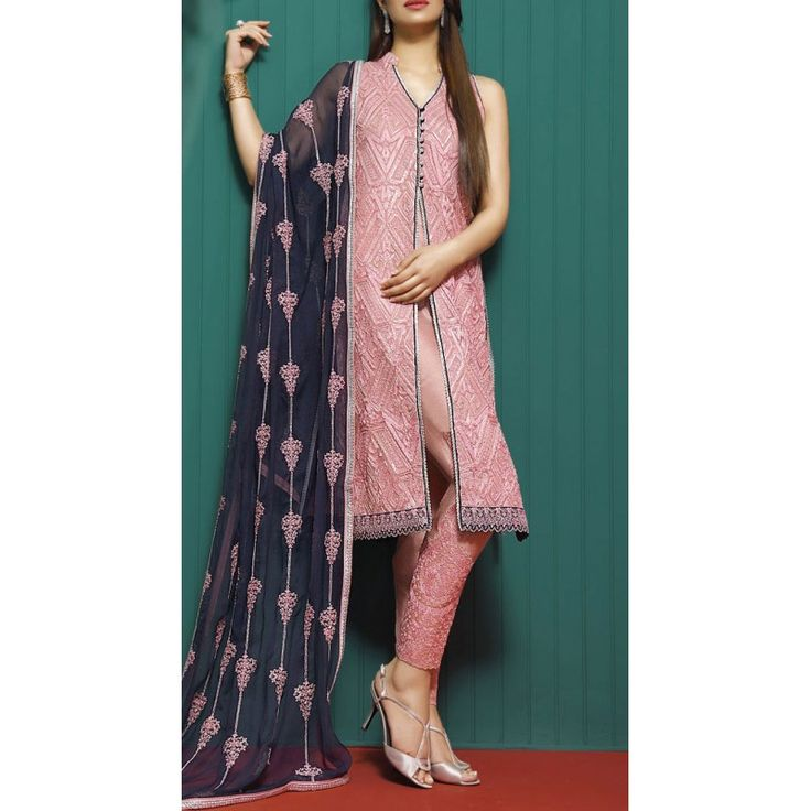 Tea Pink Embroidered Chiffon Dress Contact: (702) 751-3523 Email: info@pakrobe.com Skype: PakRobe