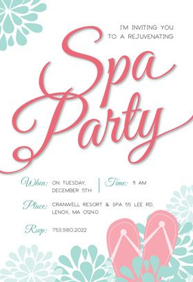 """""""Spa Splendors""""  printable invitation template. Customize, add text and photos. Print or download for free!"""