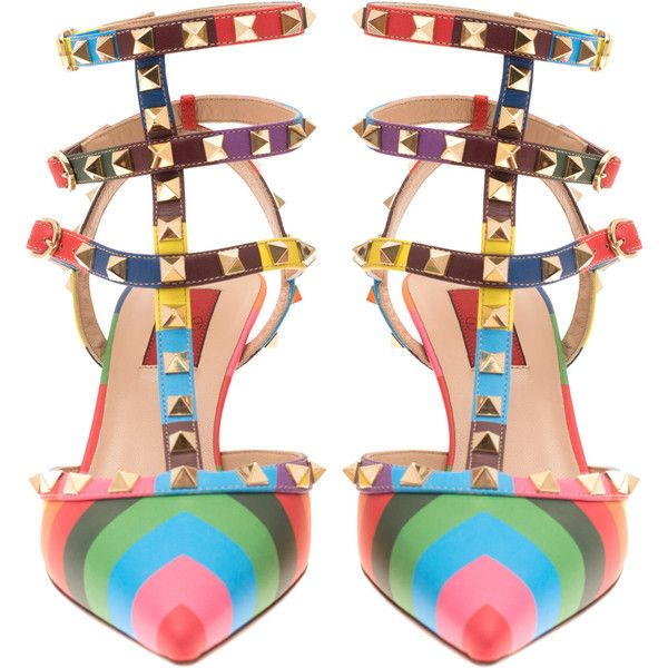 Valentino Multicolour Rockstud 1973 Sling-Back Stiletto Pump (€610) ❤ liked on Polyvore featuring shoes, pumps, scarpe, stiletto pumps, strappy stilettos, pointy toe stiletto pumps, valentino pumps and strap pumps
