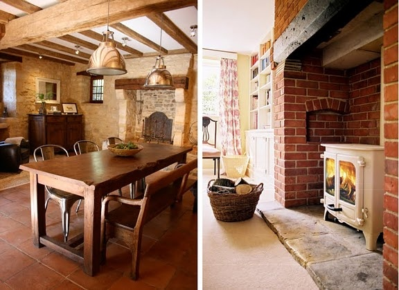 The table is perfection, and the woodburning stove is on my dream list!