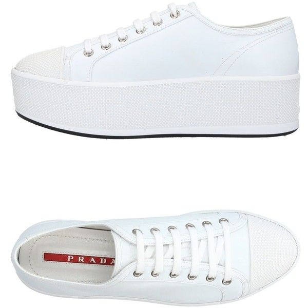 Prada Sport Low-tops & Sneakers (6.578.470 IDR) ❤ liked on Polyvore featuring shoes, sneakers, white, wedge sneaker, wedge shoes, low profile sneakers, rubber sole shoes and wedge heel shoes