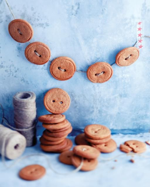 Gingerbread buttons are almost too sweet to eat! If you want to keep them as decoration, make them into a garland and hang in the kitchen.