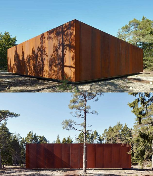 Studio Furellen in Sweden was built by AQ Arkitekter, a Concrete and Corten Steel House with Hydraulic Adjustable Terraces and great interiors
