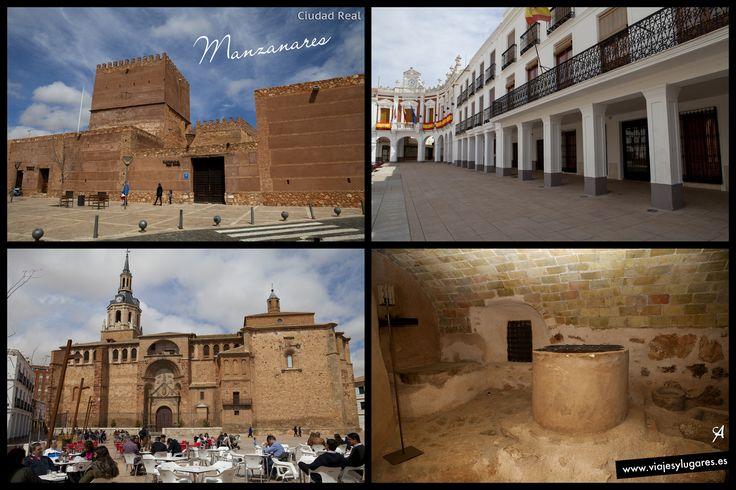 Manzanares que tiene un rico casco histórico, el castillo, la iglesia, un ayuntamiento muy bonito en una gran plaza, palacios y casas señoriales...