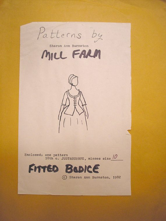 Patrón de blusa equipado del siglo XVIII Justaucorps pierde tamaño 10 por Mill Farm Sharon Ann Burnston 1982