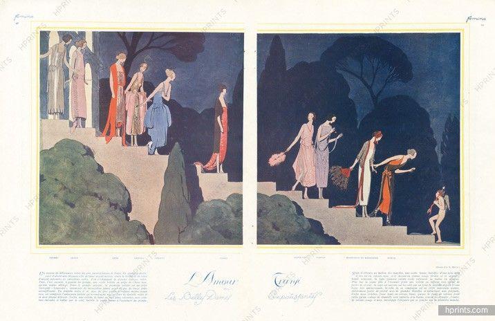 André Edouard Marty 1921 Premet, Jenny, Doeuillet, Lanvin, Beer, Poiret, Doeuillet, Worth, Chéruit, Drecoll, Madeleine & Madeleine, Evening Gown