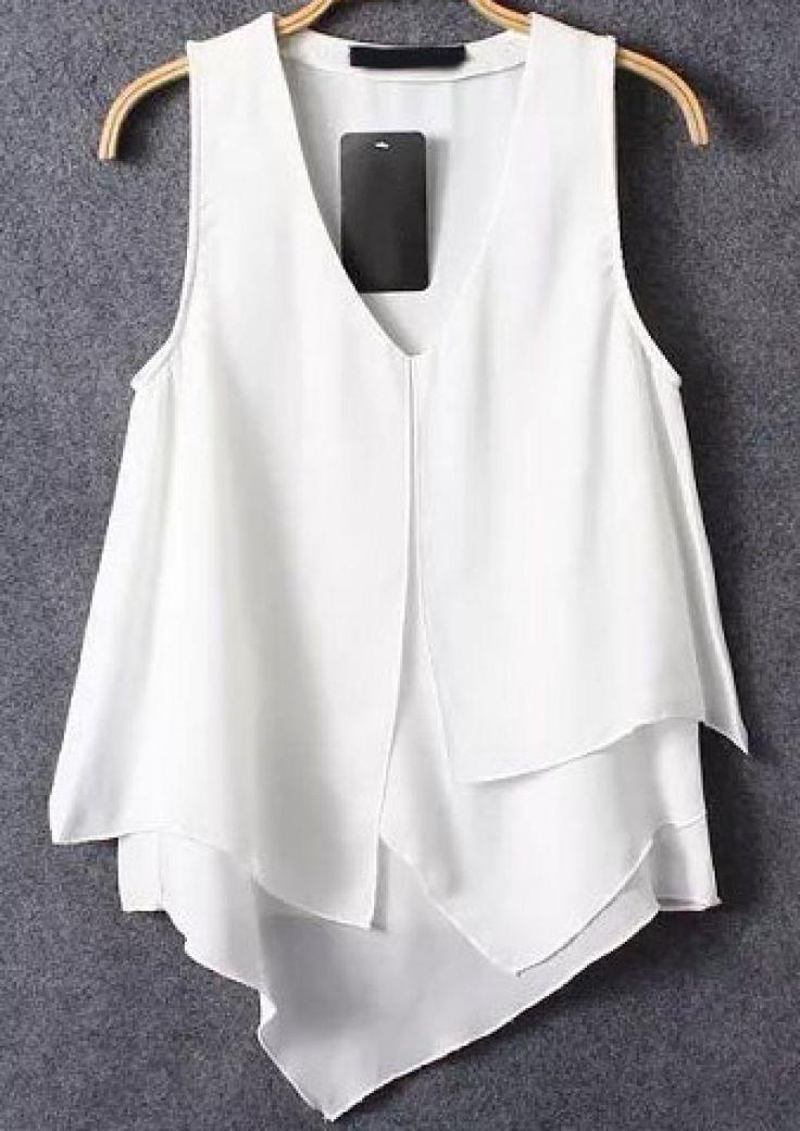 White V Neck Asymmetrical Ruffle Chiffon Vest - abaday.com