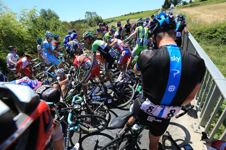 Ian Stannard, right, of Team Sky looks on as riders gather themselves after a crash during stage seven of the Tour de France, a 205.5KM road stage from Montpellier to Albi, on July 5 in Montpellier, France. (Doug Pensinger/Getty Images - See more at: http://www.boston.com/bigpicture/2013/07/tour_de_france_100th_edition_p.html#sthash.NBeqwlIC.dpuf