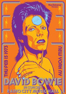 DAVID BOWIE - 15 February 1973 - New York Radio City Music Hall - retro artistic concert poster. €10.00, via Etsy.