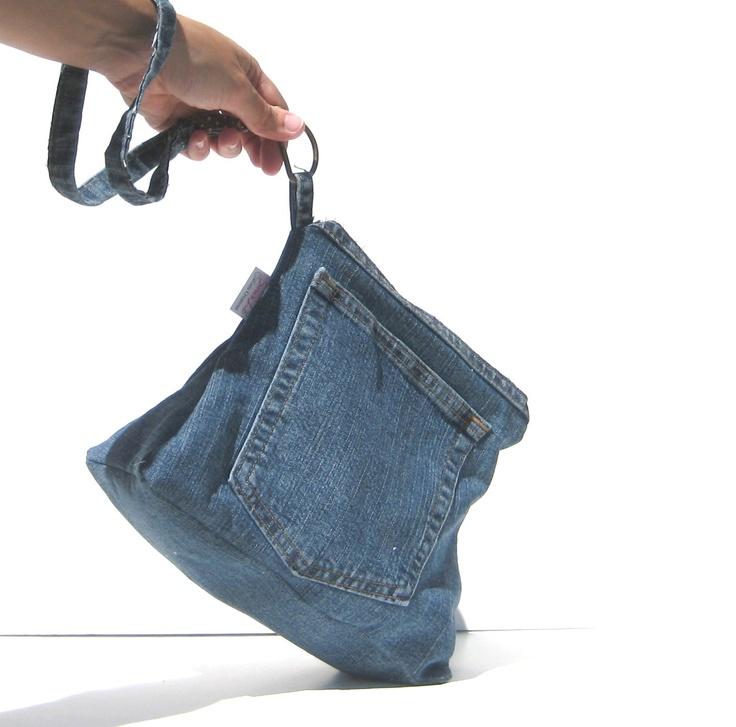 Denim Purse Clutch. Summer Fashion. Upcycled, Recycled, Eco-Friendly. Exterior Pockets. Interior Lining. Zipper Closure. MADE TO ORDER. $28.00, via Etsy.