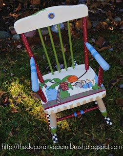 rocking chairs hand painted furniture cute monkey rockers chair ...