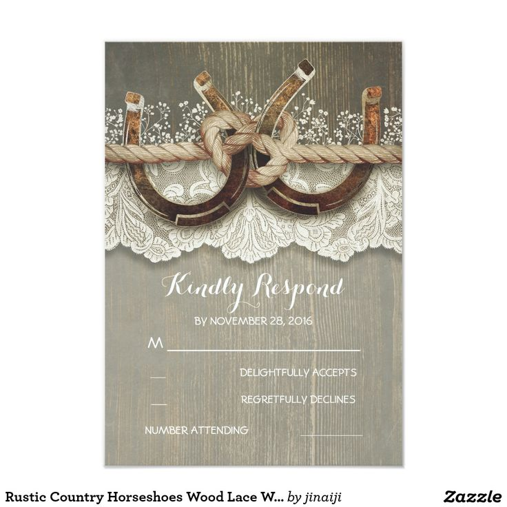 Rustic Country Horseshoes Wood Lace Wedding RSVP Card rustic country horseshoes and lace wedding reply cards