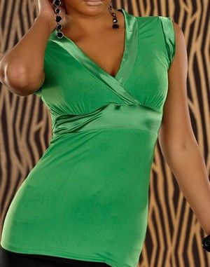 WOMAN TOP SATIN GREEN