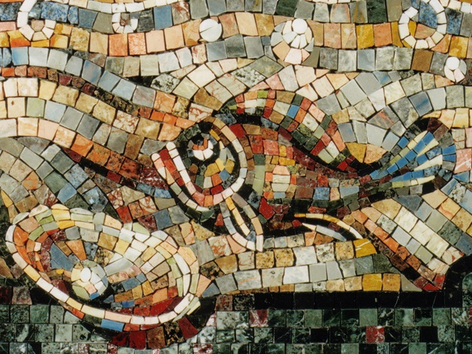 SPA MOSAIC PANELS Detail of wall panel in spa environment. Created for Russian rebublic of Tatarstan President's weekend house AD, Design, templates and supervision of fabrication by Dimitry and Mark Polyakov. Fabricated in Gregory Muller Associates studio.