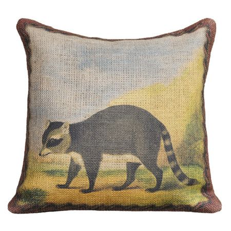 Add a touch of nature to your bed, sofa, or chaise with the inviting Raccoon Pillow. This charming burlap throw showcases a whimsical raccoon motif with a pl...